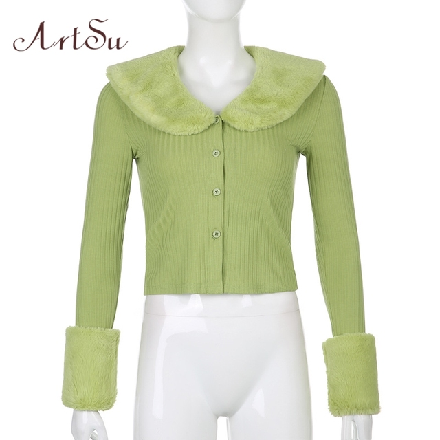 Artsu Ribbed Knitted Cardigans Sweaters With Fur Trim Collar Long Sleeve Slim Autumn Winter Jumpers Women Knitwear 42015 5