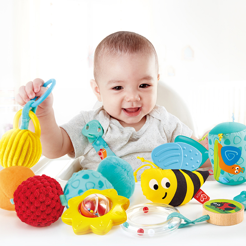Hape Rattle 6 piece set for newborn Music instruments Musical Toys for kids baby toy in Baby Rattles Mobiles from Toys Hobbies