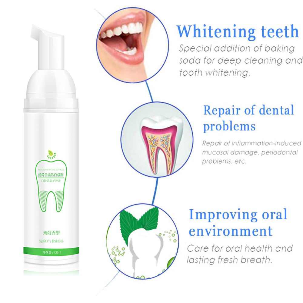Hot Sell 60ml Liquid Foaming Toothpaste for 360 Sonic Electric Toothbrush Teeth Whitening Fresh Shining Tooth Cleaner Oral Tool image