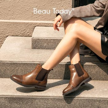 BeauToday Chelsea Boots Women Genuine Cow Leather Half Brogues Round Toe Elastic Band Ladies Ankle Boots Handmade 03638 beautoday chelsea boots women cow suede pointed toe chunky heel elastic ladies ankle boots handmade a03324