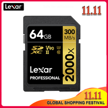 Original Lexar 300 เมกะไบต์/วินาที 64GB SD Card 32GB 128GB 2000x SDXC UHS II U3 แฟลชความเร็วสูงการ์ดสำหรับ 3D 4K กล้อง DSLR