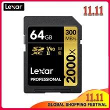 Original lexar 300 mb/s 64 gb cartão de memória sd 32 gb 128 gb 2000x sdxc UHS II u3 flash altura velocidade cartão para 3d 4 k digital dslr câmera
