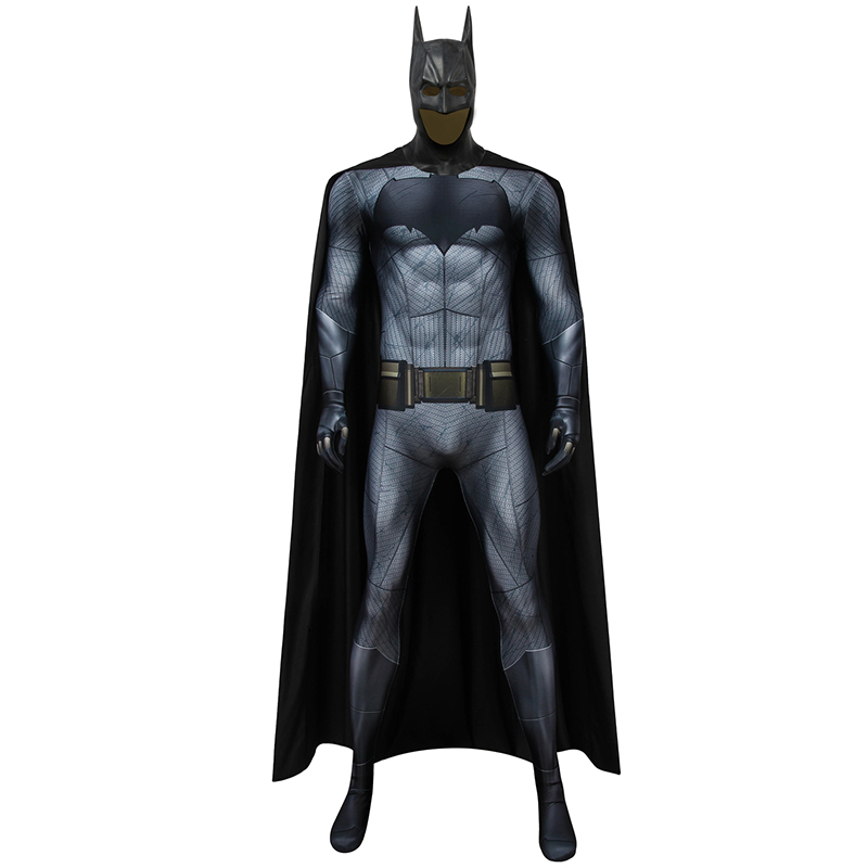 Batman V Superman Dawn Of Justice Costume Bruce Wayne Cosplay Zentai Jumpsuit Cloak Mask Men Halloween Carnival Props Outfit
