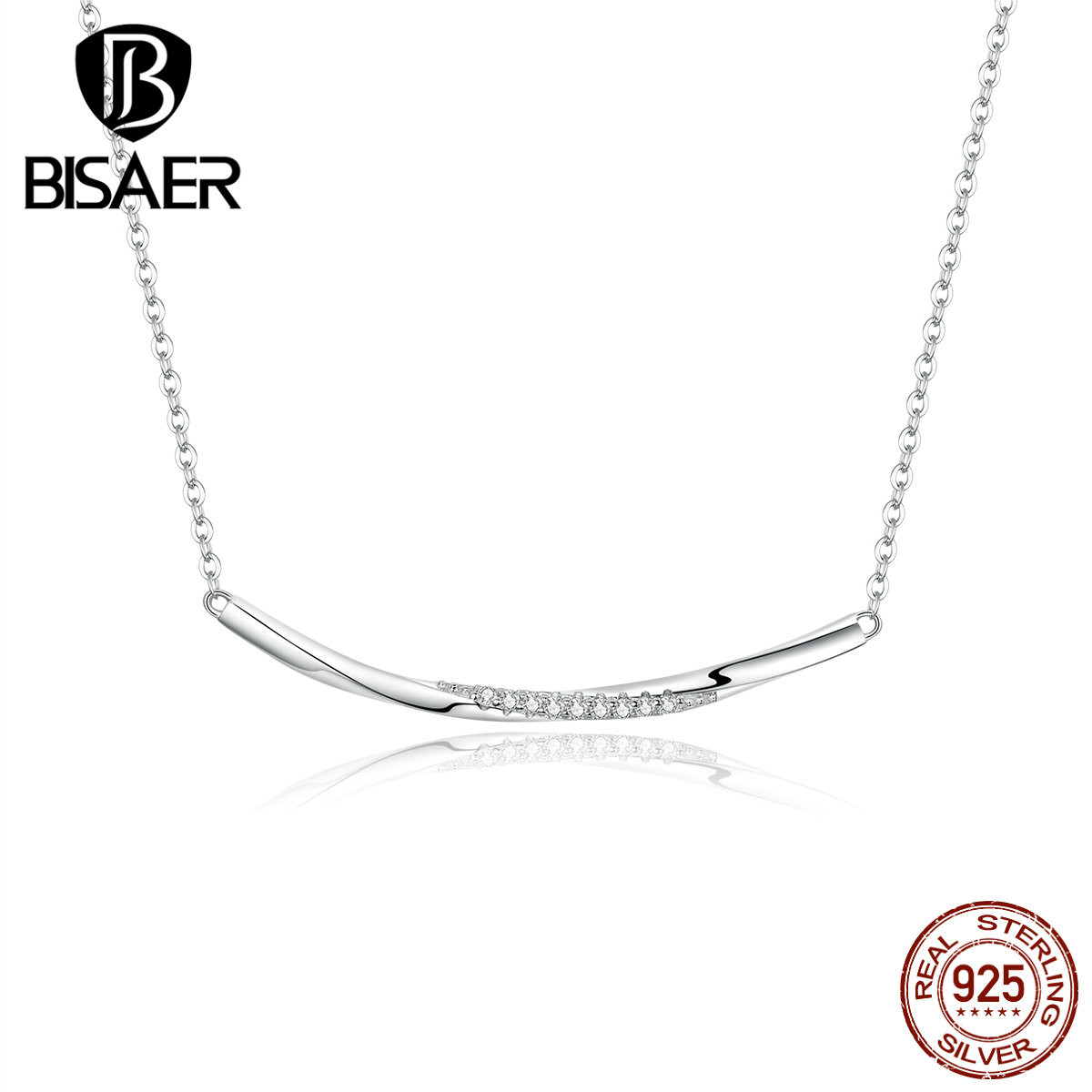 Smile Necklace For Women 925 Sterling Silver Smile Bar Necklaces For Women Cubic Zircon Luxury Silver Jewelry EFN130