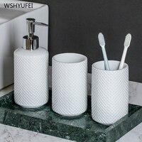 홈 호텔 욕실 흰색 양각 점 손 소독제 디스펜서 병 비누 병 욕실 입 컵 욕실 워시 세트