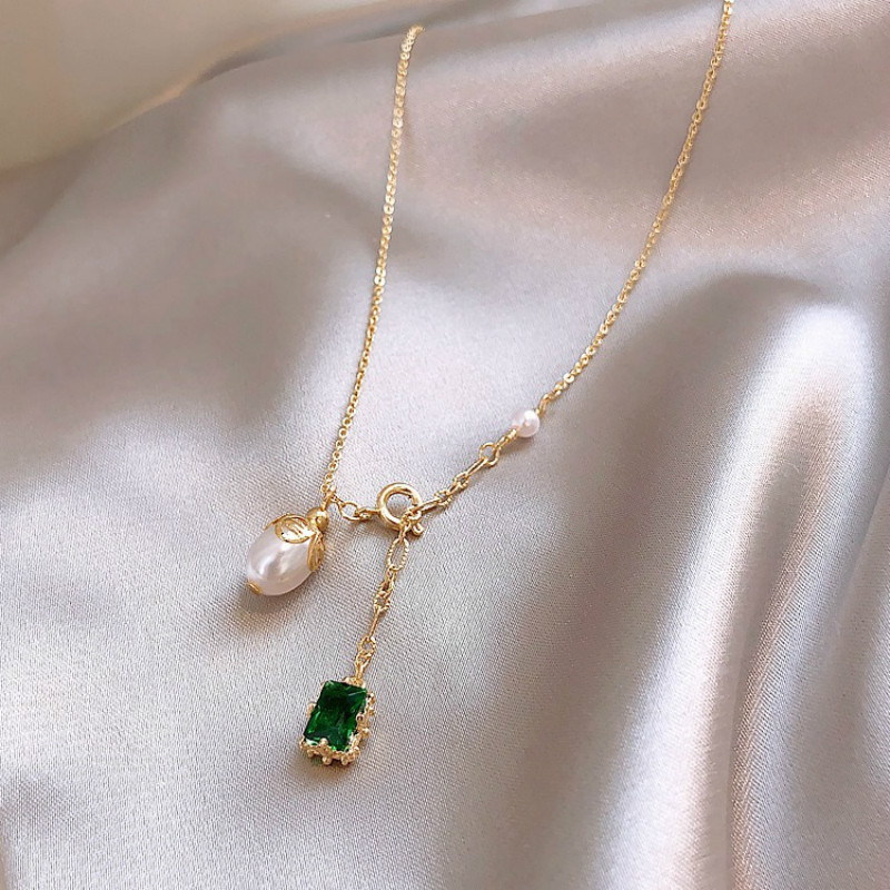 New Korean Trendy Elegant Green Crystal Imitation Pearl Chokers Necklaces For Women Water Drop Pendant Necklace Jewelry