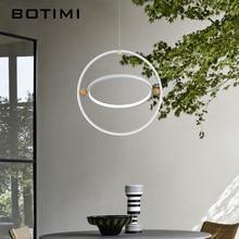 BOTIMI Modern White Circular LED Pendant Lamp Designer 2 Rings Hanging Lighting For Dining Room Supension KIthen lamps