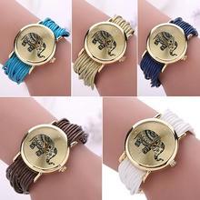 Fashion Women Elephant Dial Wristwatch Multilayer Braided Bracelet Wrist