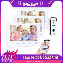 TMEZON kablosuz Wifi akıllı IP Video kapı zili interkom sistemi, 10 inç + 2x7 inç monitör ile 1x720P kablolu kapı telefonu kamera