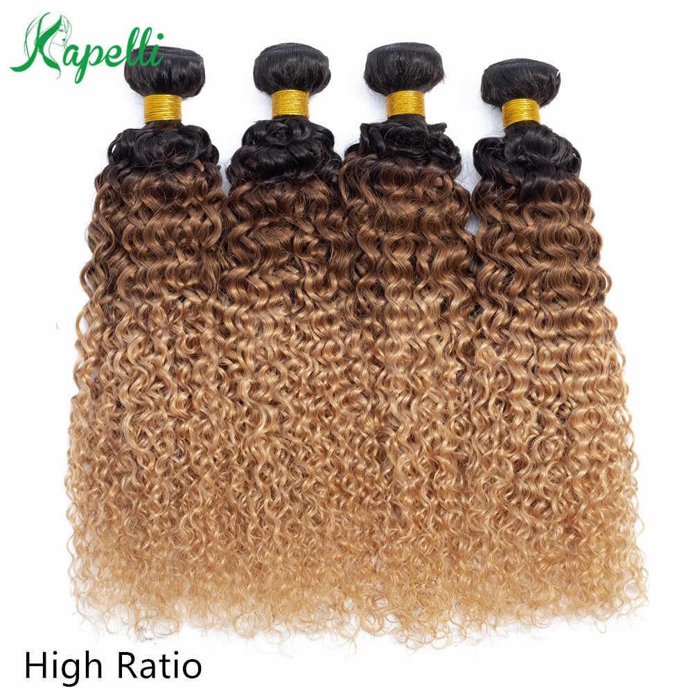 Brasileiro kinky encaracolado feixes de cabelo humano ombre extensão do cabelo 1b/30/27 escuro raiz loira remy tecer cabelo humano 3/4 pacotes