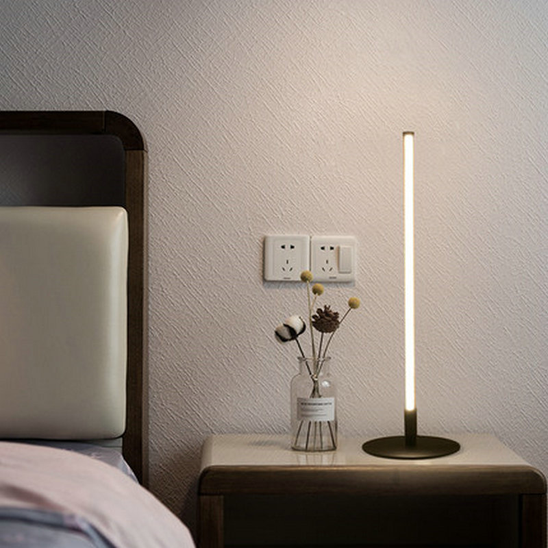 Nordic Modern LED Black Iron Bedside Table Lamp for Bedroom Living Room Loft Personal Office Minimalist Room Decorative Table Lamps     - title=