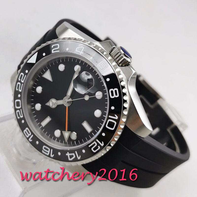 แฟชั่น 40mm PARNIS sterile Black dial ไม่มีโลโก้ Sapphire นาฬิกา GMT นาฬิกา 2019 Luxury Brand mens นาฬิกา-ใน นาฬิกาข้อมือกลไก จาก นาฬิกาข้อมือ บน   1