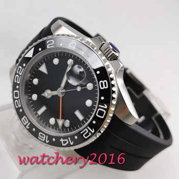 Fashion 40mm PARNIS sterile Black dial No Logo Sapphire watches men GMT watch 2019 Luxury Brand Automatic Movement mens Watch - DISCOUNT ITEM  31% OFF All Category