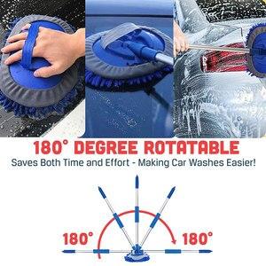 Image 4 - アップグレード2で1洗車ブラシモップヘッドキット3セクション伸縮式アルミ合金ハンドル長厚いシェニールクリーニングツール