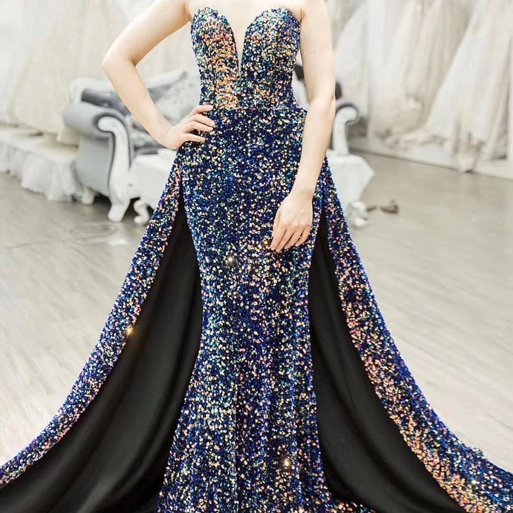 Vintage Evening Dresses Long Robe De Soiree Abendkleider 2019 Sexy High Split Backless Sequin Prom Dress A Line Evening Gowns