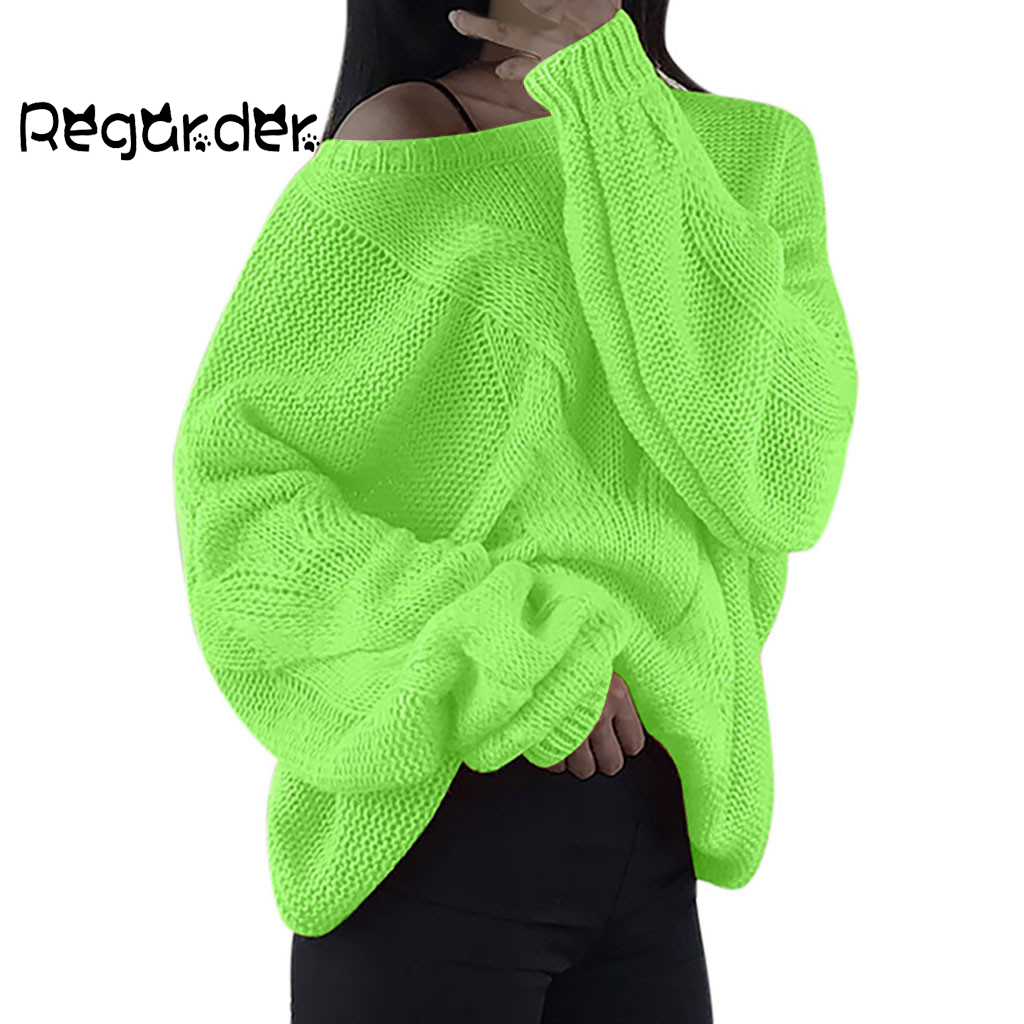Women Sweater Loose Solid Fashion Knitted Pullover V-Neck Long Sleeve