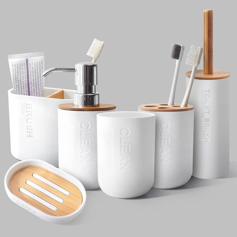 6Pcs ห้องน้ำไม้ไผ่ชุดแปรงห้องน้ำผู้ถือแปรงสีฟันถ้วยแก้วสบู่จานสบู่ห้องน้ำอุปกรณ์เสริม