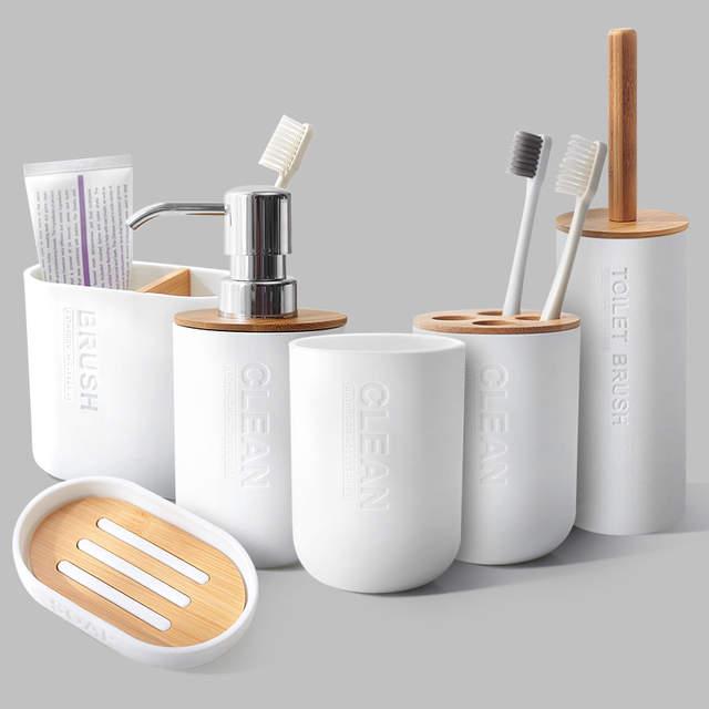 Bamboo Bathroom Set Toilet Brush Holder