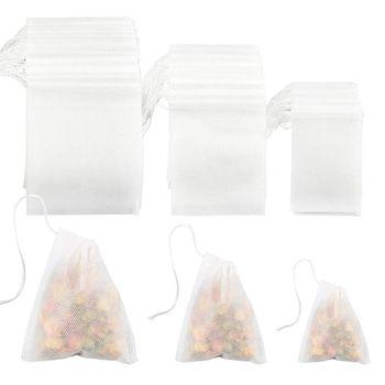 300 шт чайные фильтрующие пакеты, одноразовые чайные фильтрующие пакеты на шнурке для чая с листьями или цветочными фруктами (смешанные разм...