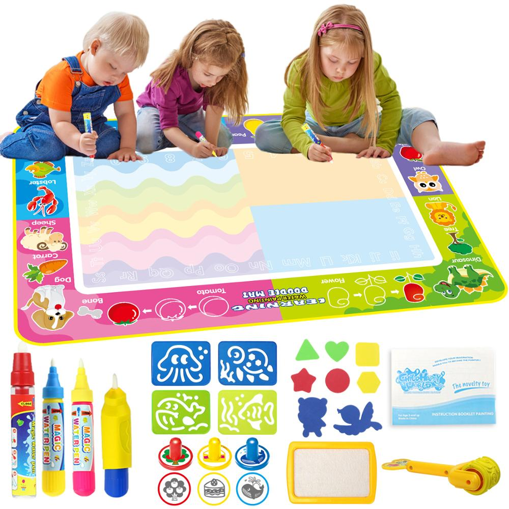 6 Types Big Size Magic Water Doodle Mat 4 Pens & Stamps Set Drawing Painting Board Art Early Educational Toy Gift For Kids