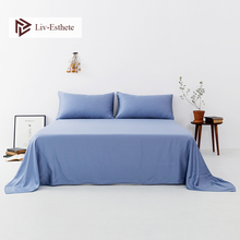 Liv-Esthete 2020 Noble Blue 100% Natural Silk Flat Sheet Silk Healthy Queen King Bed Sheet Pillowcase For Women Men Home Textile