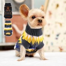 Suéter de perro cálido suave clásicos perro a cuadros suéteres de punto pequeños perros medianos gatos ropa de invierno ropa para mascotas para Chihuahua Pug