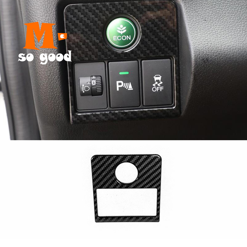 for Honda HRV HR-V VEZEL 2015 2016 2017 Car Styling Accessories ABS Carbon Fiber Car Headlamp Adjustment Switch Panel Cover Trim