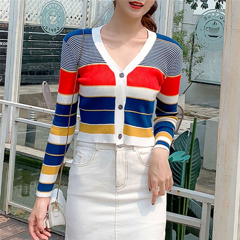 Striped Cardigan Women Ctop Top Long Sleeve Sweater V Neck Sexy Cardigan Knitting One Size Pull Femme Nouveaute 40OCT1623