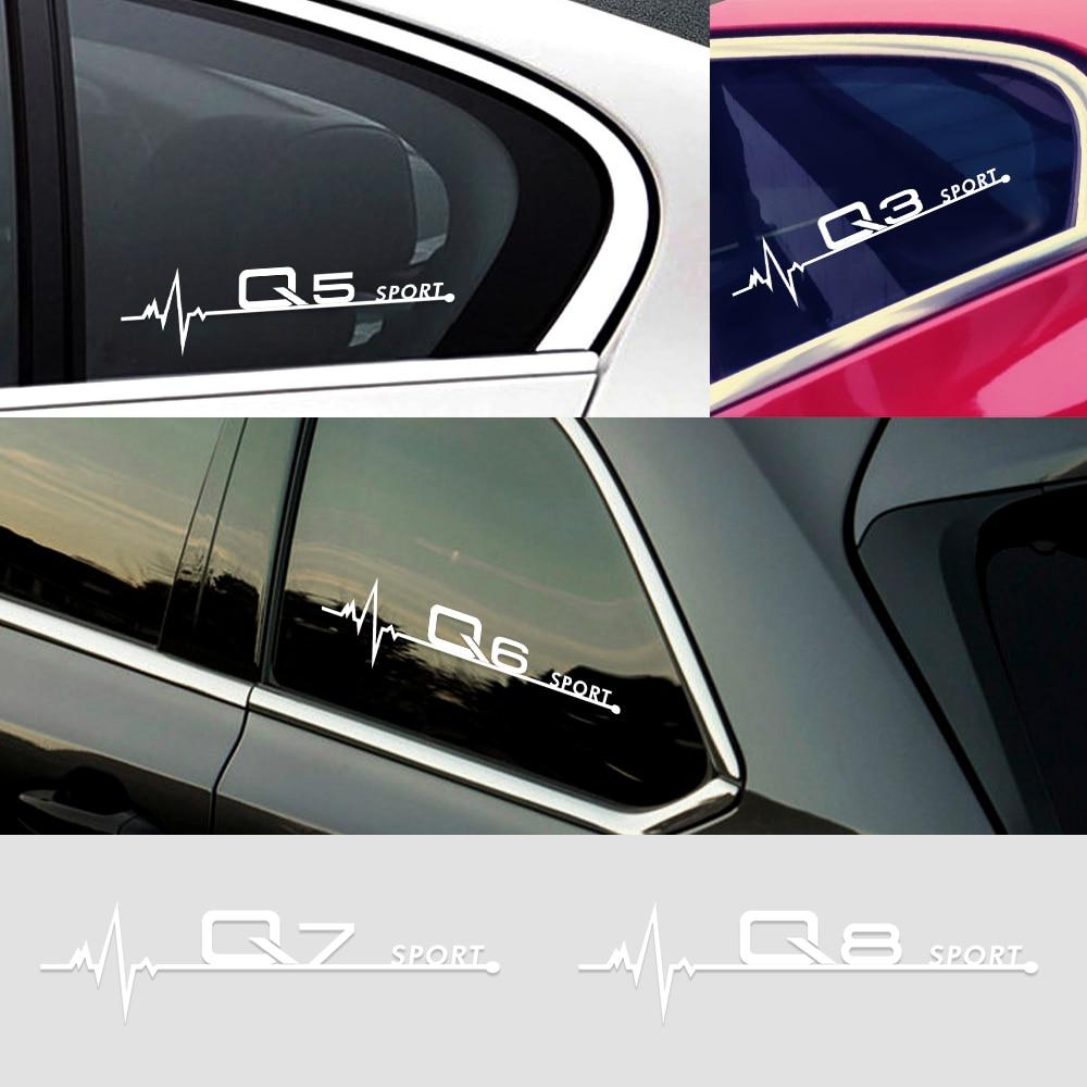 2PCS 20*5.5CM Car Side Window Body Stickers Decals For Audi A1 A2 A3 A4 A5 A6 A7 A8 Q1 Q2 Q3 Q4 Q5 Q6 Q7 Q8 Car Accessories