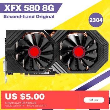Бывшая в употреблении видеокарта XFX RX 580 8 Гб 2304 580 бит GDDR5 для настольного ПК игровая видеокарта не Майнинг 8G