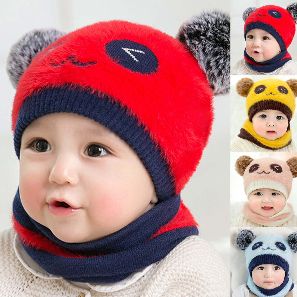2Pcs//Set Toddler Baby Girls Boys Winter Warm Knitted Beanie Cap+Scarf Keep Warm