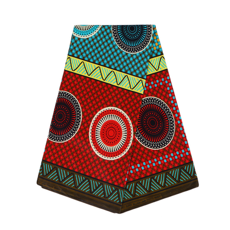 2019 Fashion African 100 % Cotton Sky-Blue Color & Red Print Veritable Guarantee Real Dutch Wax Java
