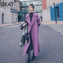 Woolen Coat DEAT Purple Elegant Long-Sleeve Warm Winter Fashion Woman New Thick Solid
