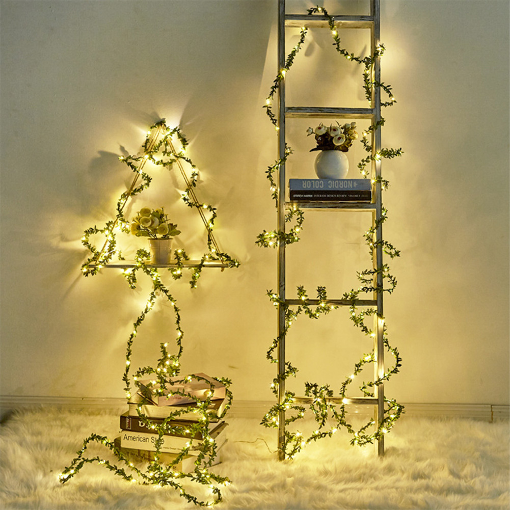 5M 10M LED Outdoor Leaf Twine Fairy String Lights With Battery Operate For Rustic Wedding Holiday Party Event Decoration