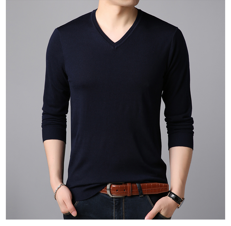 Male 2019 Spring Autumn Thin Knitting Sweater Men's V-neck Long Sleeve Tide Solid Color Sweaters