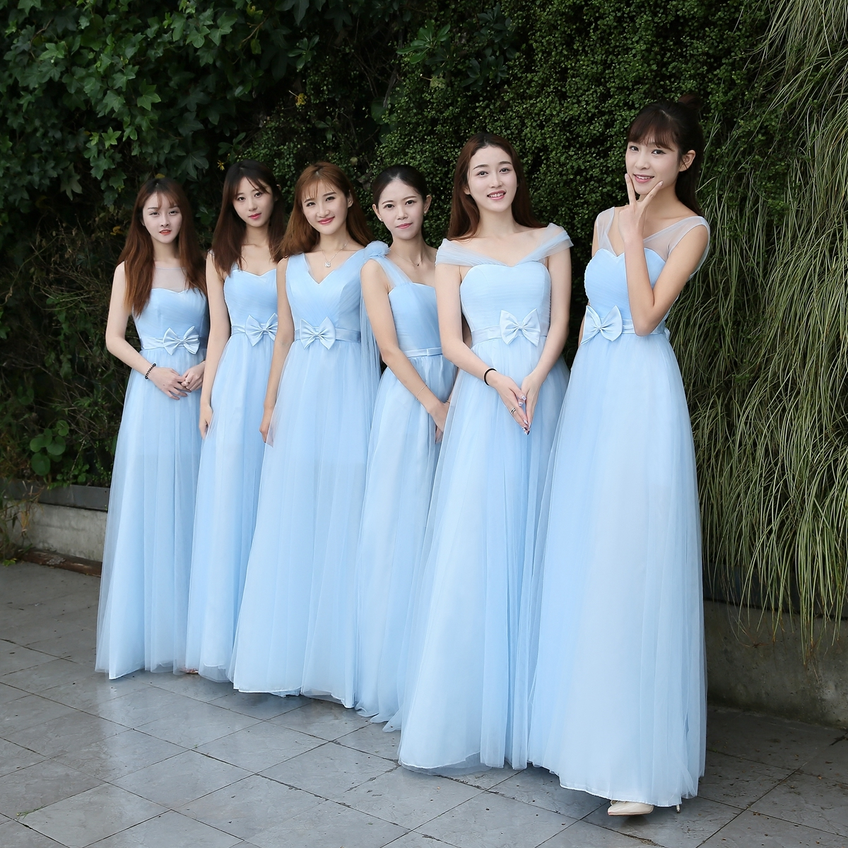 Sky Blue Wedding Guest Dress Elegant Burgundy Bridesmaid Tulle New Years Dress Graduation Long Party Sister Club Prom Princes