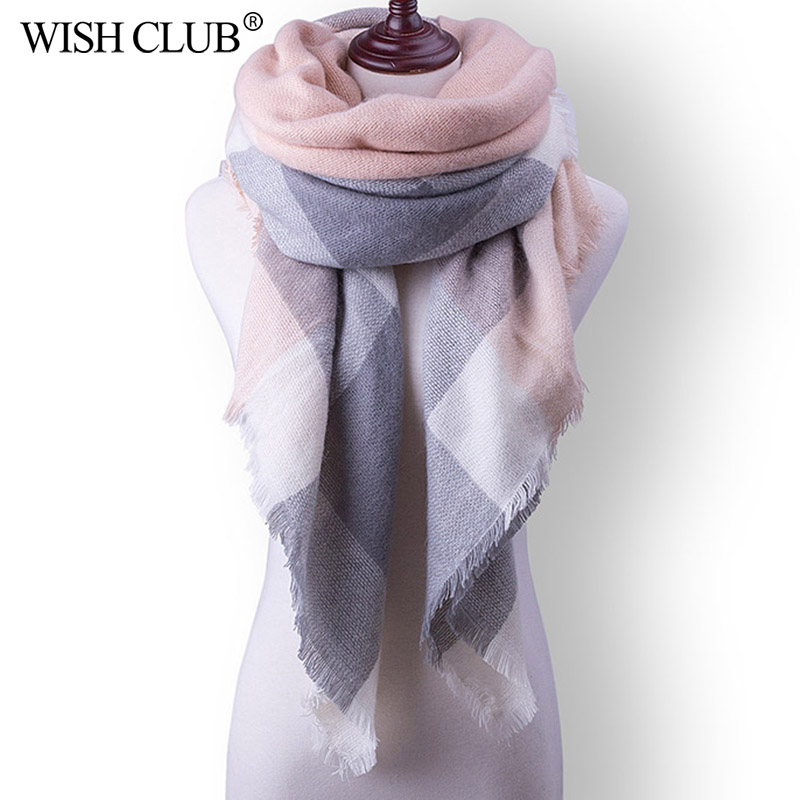 WISHCLUB Women Winter Scarf For Women cashmere Scarf and Shawl Women's Blanket Scarf Warm Shawl Support Wholesale and Retail