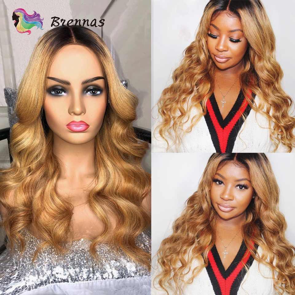 1B27 Body Wave Human Hair Lace Front Wigs Pre Plucked Ombre Honey Blonde 13X6 Lace Frontal Brazilian Non-Remy Wigs Baby Hair