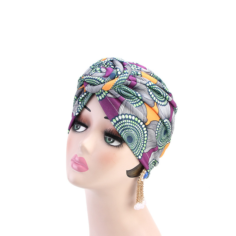 Helisopus 2020 Fashion Women Knotted Print Turban Muslim Turban Twist Knot India Hat Ladies Chemo Cap Bandanas Hair Accessories