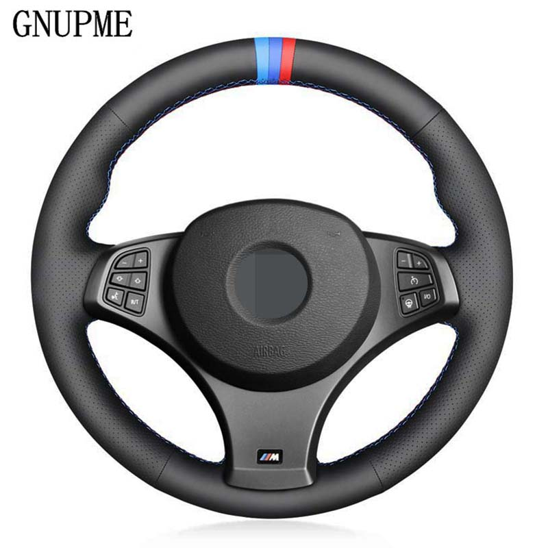 DIY Black Artificial Leather 3 COLOR STRIPES Hand-stitched Car Steering Wheel Cover for BMW X3  M Sport  E83 2005-2010