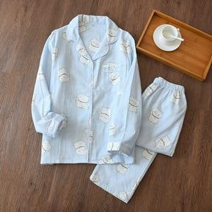 Image 3 - Fresh maple leaf pajama sets women 100% gauze cotton Japanese summer long sleeve casual sleepwear women simple pyjamas
