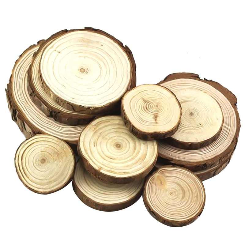 Belum Selesai Alami Kayu Bulat Irisan Lingkaran dengan Kulit Pohon Log Cakram untuk DIY Kerajinan Pernikahan Pesta Lukisan Dekorasi