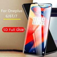 Schutz glas für oneplus 6 gehärtetem glas auf ein plus 6 t 7 oneplus 6 plus6 glas screen protector volle kleber 5d oneplus 7 plus7