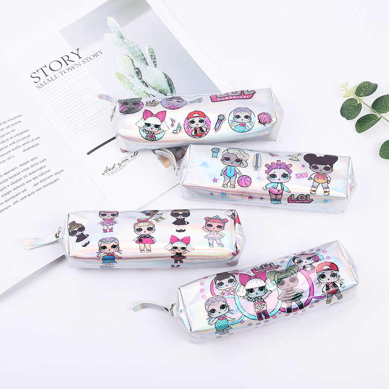 Laser pu printing LOL surprise doll cute cartoon green print square octagonal pencil case back to school Kawaii pencil bag