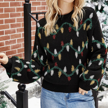 Winter Christmas Sweater Women Loose Black Knitted Tops Xmas Tree Casual Pullover Sweaters 2021 Print Jumper New Year Clothes new autumn winter knitted sweaters women christmas theme cute snowman and christmas tree ugly christmas sweater pullover women