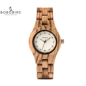 Image 2 - Bobo pássaro relógio feminino único de bambu de madeira jam wanita unik moda quartzo relógios de pulso na caixa presente V O29