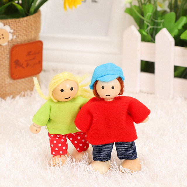 Happy Family Dolls Set Miniature 6 People Wooden Jointed Dolls Muppet Kids Pretend Play Play House Toys Dressed Characters Gifts 3
