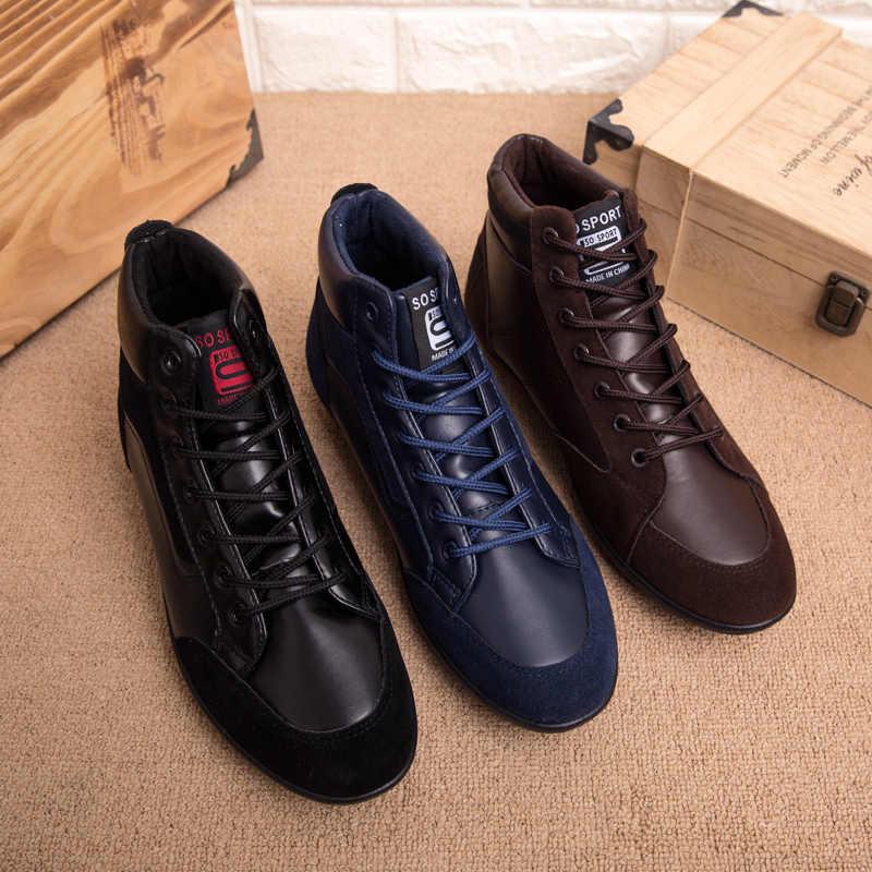 REETENE 2019 Nieuwe Mannen Lederen Laarzen Mode Herfst Winter Warm Katoenen Mannen Enkellaarsjes Lace Up Mannen Schoenen Schoeisel Mannen casual Schoenen