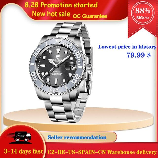 PAGANI Design Men Automatic Watch Sapphire Luxury Mechanical Wristwatch Stainless Steel Waterproof Watch Men Mekaniska klockor 1