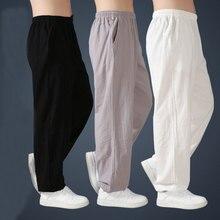 Свободные хлопковые льняные штаны для мужчин, шаровары, Мужские штаны Тай Чи, боевые искусства, кунг-фу, летние брюки для бега йоги